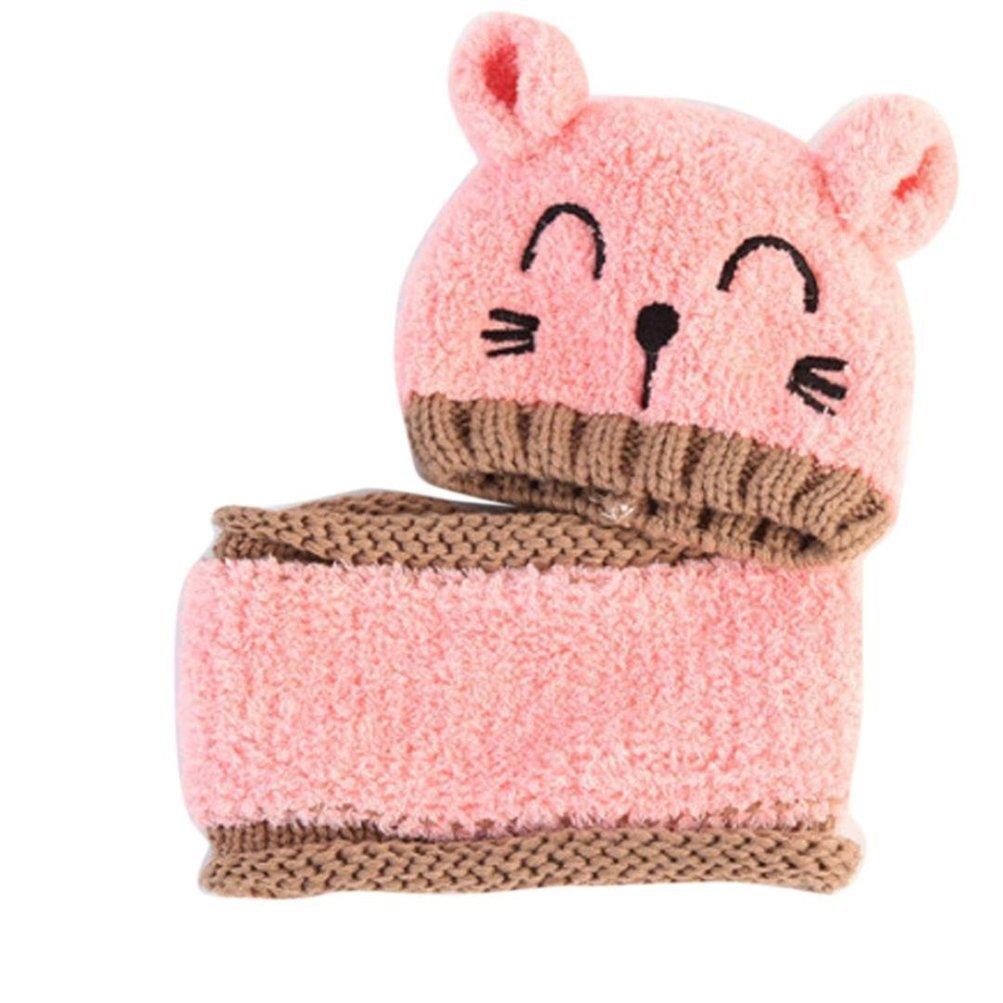 Bufanda Dos Piezas Gorro Punto Invierno con Bufanda para Bebe Calentar Sombreros Gorras Beanie de Punto Sombrero