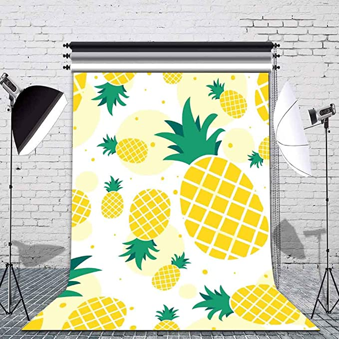 HD Fruit World Backdrop Yellow Pineapple Photography Background 7x5ft Themed Party Photo Booth YouTube Backdrop GEMT1195
