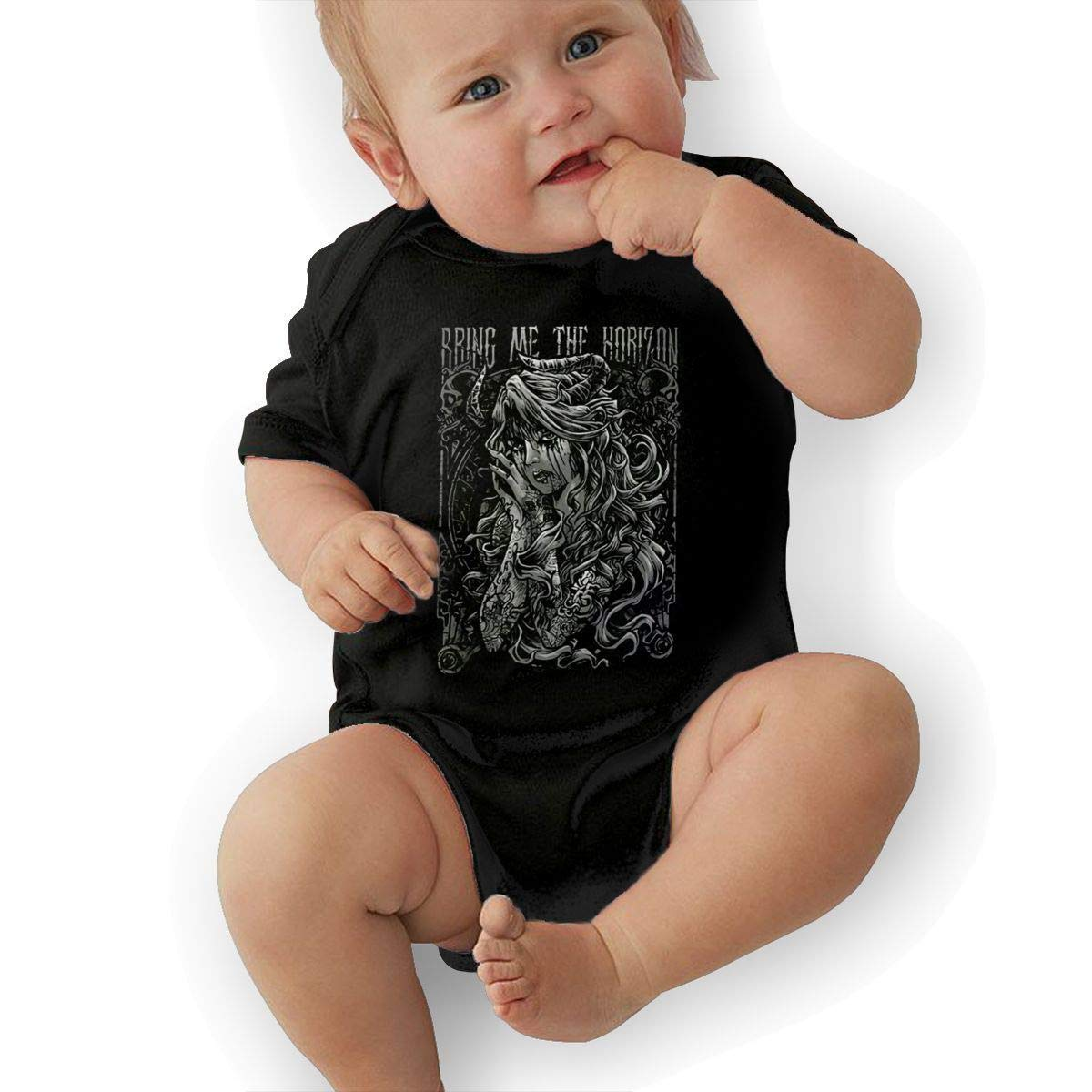 Baby Bring Me The Horizon Reach for The Sky Adorable Soft Music Band Jersey Baby Romper,Black,6M