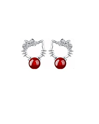 6ec3e2441 Buy Hello Kitty Cute Cat Red Pearl Earring for women & girls Online at Low  Prices in India | Amazon Jewellery Store - Amazon.in