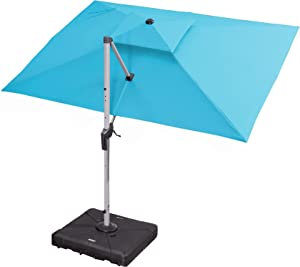PURPLE LEAF 9' X 11' Double Top Deluxe Rectangle Patio Umbrella Offset Hanging Umbrella Outdoor Market Umbrella Garden Umbrella, Turquoise Blue
