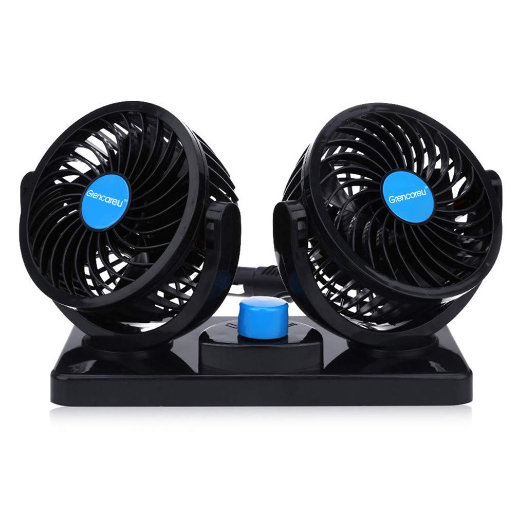 12V Car Fan Dual Heads Cooling Fan Two Speeds Adjustable Auto Fan 360  Degree Manual