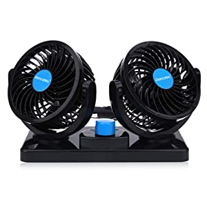 12V Car Fan Dual Heads Cooling Fan Two Speeds Adjustable Auto Fan 360 Degree Manual Rotation Vehicle Fan for Trucks or Car with Cigarette Lighter Plug In