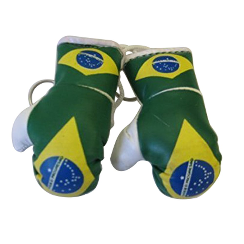 Flag Mini Small Boxing Gloves to Hang Over Car Automobile Mirror – Americas (Country: Brasil / Brazil)