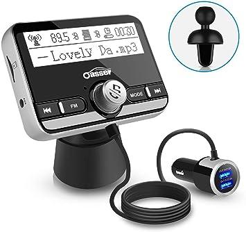 Oasser Transmisor FM Bluetooth Coche Manos Libres Reproductor MP3 2 Cargador USB Carga Rápida Bluetooth 4.2 QC 3.0 con Cable TR3