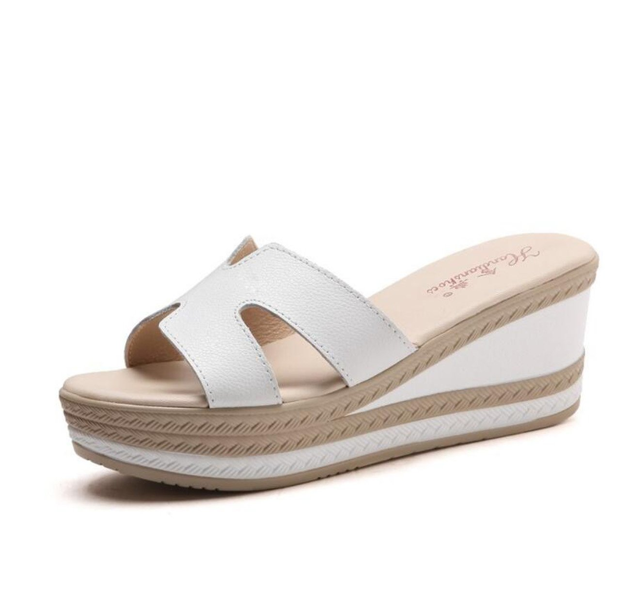 Ciabatte da donna con zeppa Pantofole Summer Cool Fashion Platform Casual Outdoor Infradito Scarpe ( Color : Bianca , Dimensione : 35 ) DANDANJIE