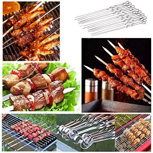 ZEEREE 10 Pièce 38cm Brochettes Barbecue Inoxydable, Acier Inoxydable Barbecue Barbecue Sticks à en Acier Idéal pour brochettes de Viande ou légumes