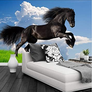 Amazon Com Xbwy Custom Photo Mural Wallpaper 3d Stereoscopic Black Horse Leaps Wall Mural Blue Sky Wall Paper Living Room Sofa Tv Background 120x100cm Furniture Decor