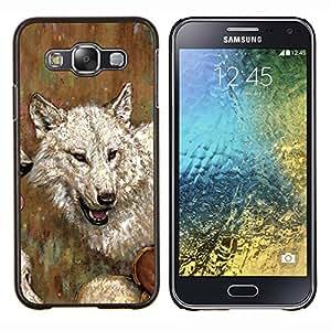 TECHCASE---Cubierta de la caja de protección para la piel dura ** Samsung Galaxy E5 E500 ** --Pintura del arte del lobo Dibujo Blanco Gris Acuarela