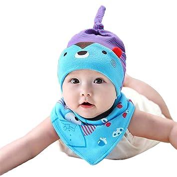 5586596e2ac ZHOUBA 2Pcs Baby Toddler Newborn Cartoon Bear Hat Bib Set Triangle Saliva  Towel Head Scarf Cap - Blue  Amazon.co.uk  Baby