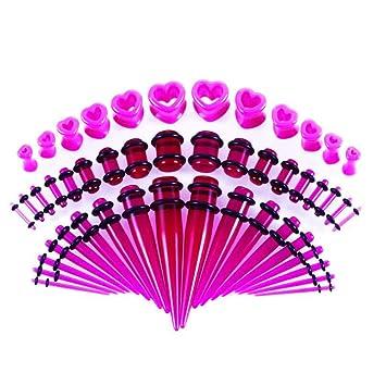 48Pcs Body Piercing Dilatación Túnel Dilatadores, Acero Quirúrgico Piercing Oreja Tapones De Oreja, Forma De Corazón De Acrílico, Punción Humana,Purple: ...