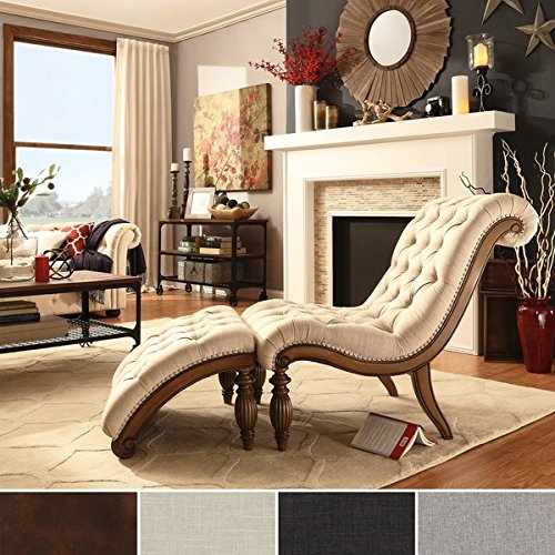 Classic Grey Linen Upholstered Tufted Chaise Lounge Chair wi