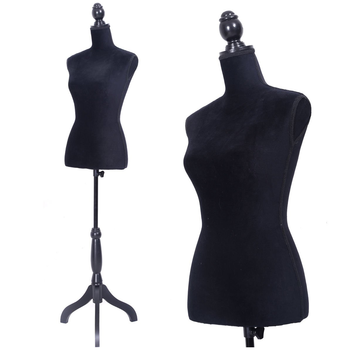 JAXPETY Female Mannequin Torso Clothing Display W/ Black Tripod Stand New Black