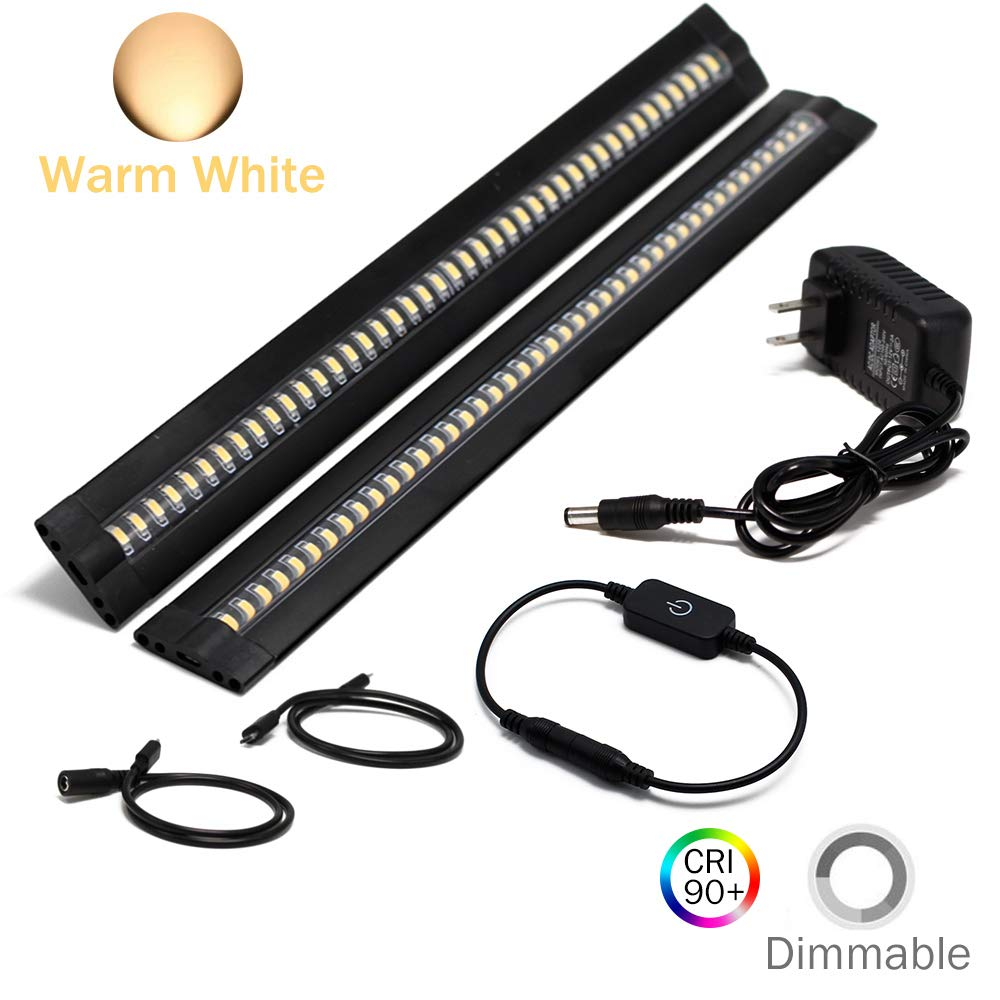 Ultra Thin LED Under Cabinet/Counter Kitchen Lighting Plug-In, Touch Dimmable 2 Coin Thickness LED Light with 42 LEDs, Easy Installation Warm White 12V/1A 5W/450LM CRI90, 2 Pack, All in One Kit