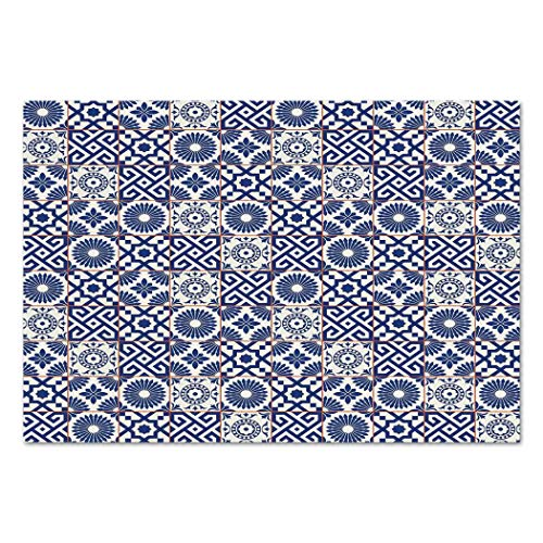 Large Wall Mural Sticker [ Moroccan,Old Ottoman Style Inspired Mix of Moroccan Tiles in Modern Shades Artwork Print,Grey Blue ] Self-Adhesive Vinyl Wallpaper/Removable Modern Decorating Wall Art