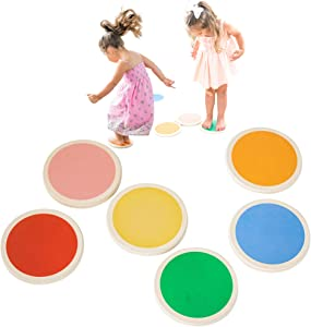 Tottlr Stepping Stones for Kids - Set of 6 Colorful Balance Stepping Stones Made from Non-Toxic Baltic Birch Wood - Play The Lava Game - Every Purchase Supports Toddlers in a Foster Home