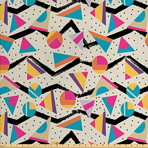 Ambesonne Vintage Fabric by The Yard, Vintage 80s Style Geometrical Pattern with Triangles and Circles in Memphis Fashion, Decorative Fabric for Upholstery and Home Accents, 1 Yard, Multicolor