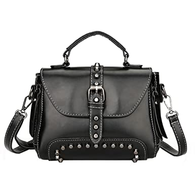 Amazon.com: Willtoo Mujer Retro Bolsas De Hombro, remaches ...
