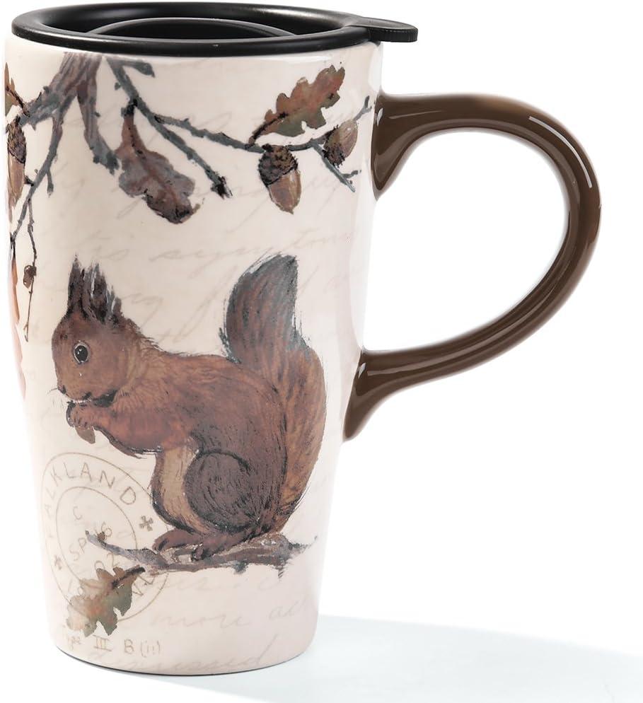 Minigift Tall Ceramic Travel Coffee Cup/Mug With Lid 16oz- Squirrel Mug