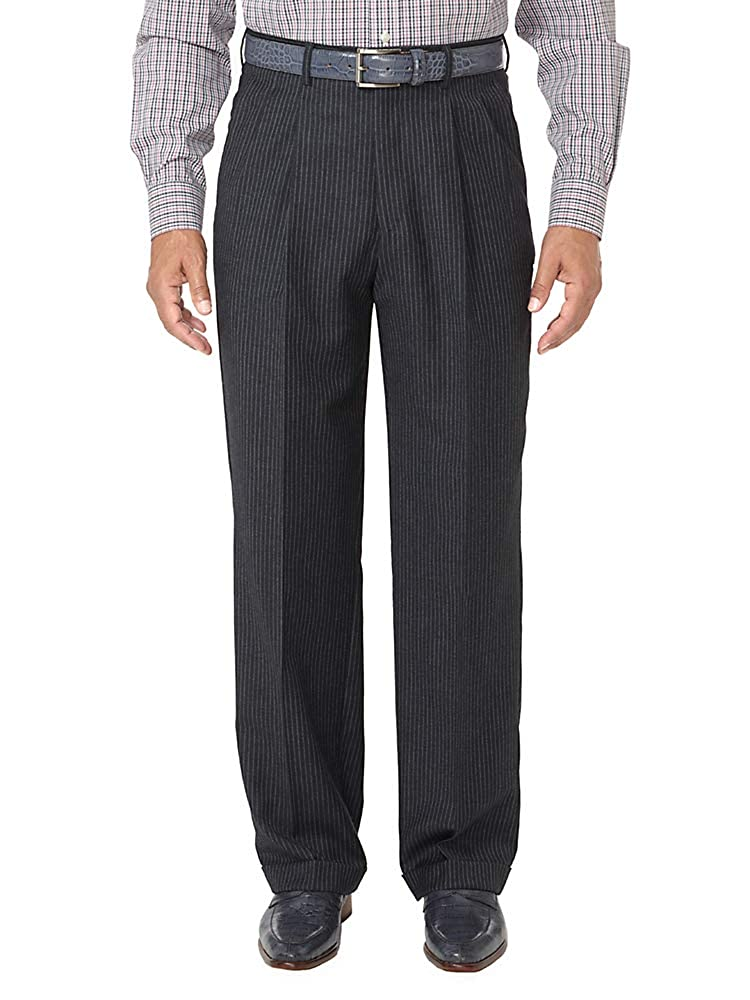 1940s Trousers, Mens Wide Leg Pants  Wool Stripe Pleated Suit Pants Paul Fredrick Mens $129.95 AT vintagedancer.com