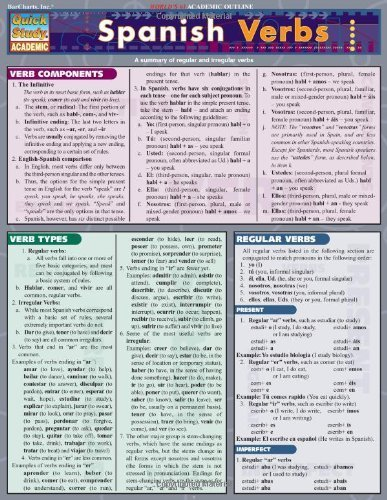 Spanish Verbs (Laminated Reference Guide; Quick Study Academic) Lam Crds B by BarCharts, Inc. (2004) Pamphlet