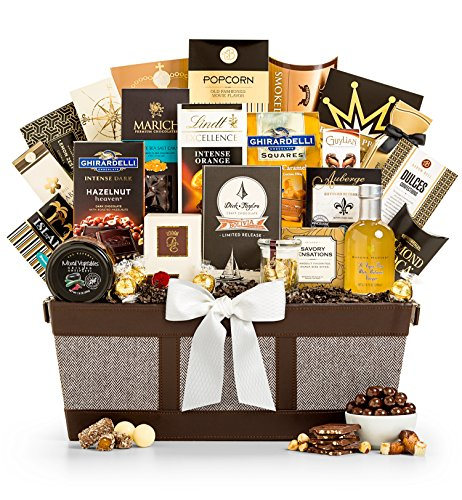 GiftTree Fit for Royalty Gourmet Chocolate Gift Basket - Assorted Chocolate Including Ghirardelli, Godiva, Lindt, and Almond Roca, Plus Smoked Salmon, Artisan Cheese and More by GiftTree