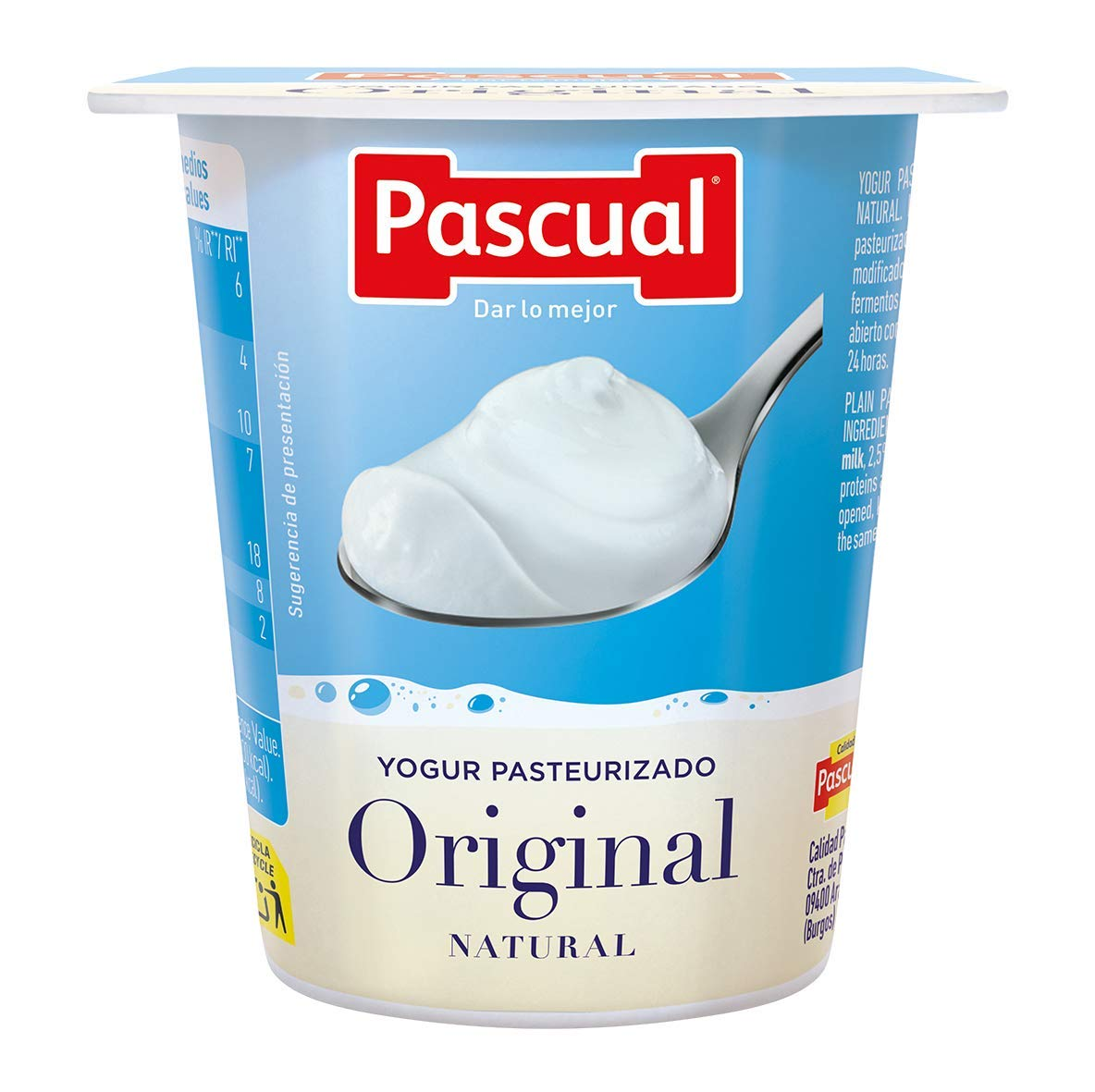 Pascual Yogur Original Sabor Natural - Paquete de 4 x 125 gr ...