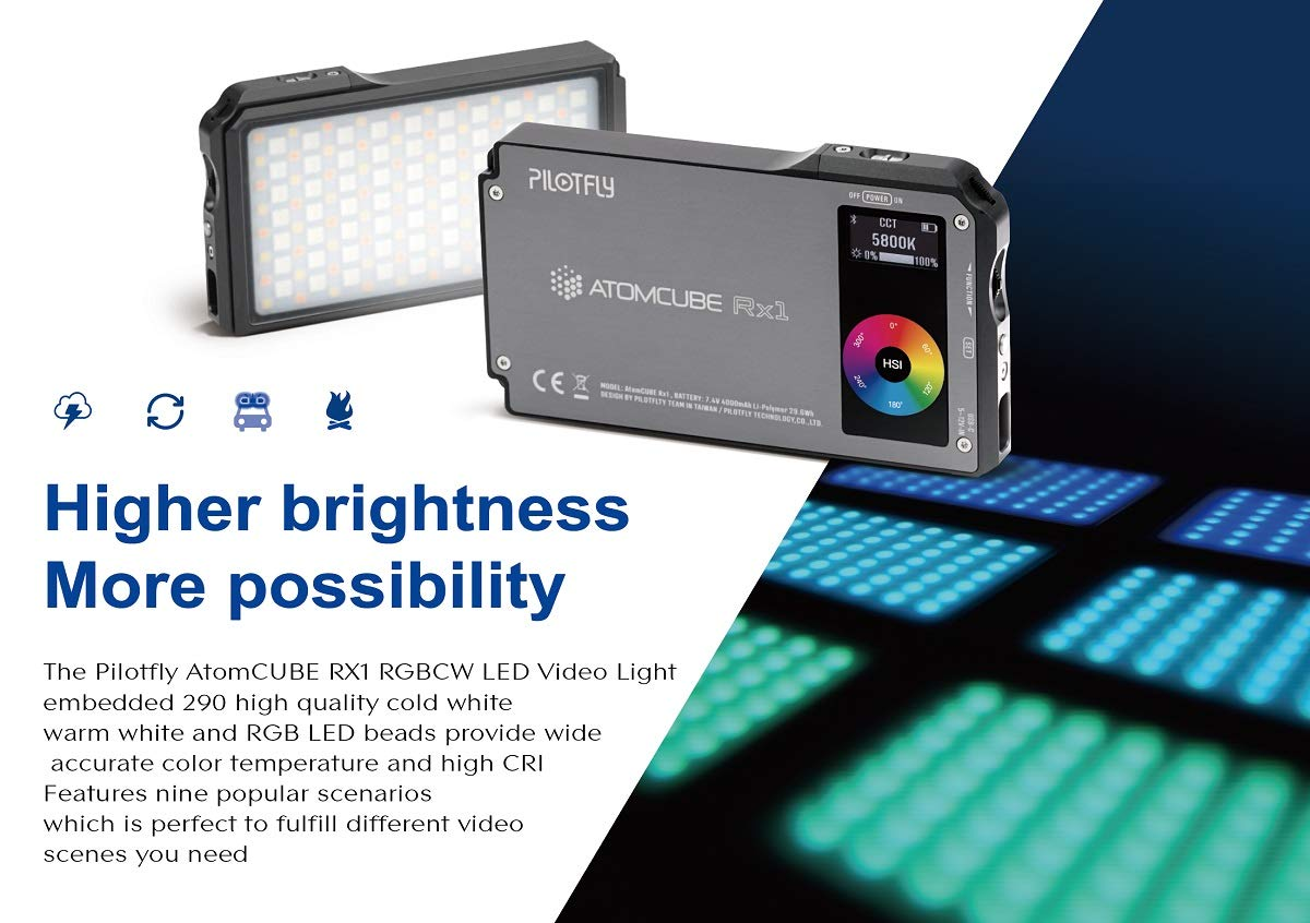 AtomCUBE RX1 RGBCW Pocket Video Light - Bluetooth Mesh Network,APP Control up to 255 Devices, 12+ Common Scenario Simulations,CRI95+,TLCI97,0-360º Full Color & Color Saturation Adjustment by Pilotfly