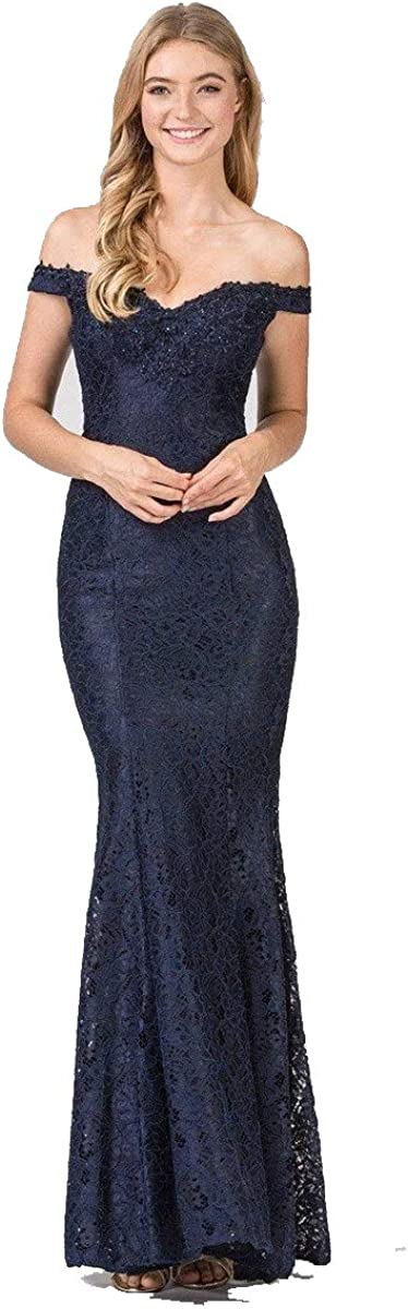 YMSHA Womens Long Lace Off The Shoulder Prom Dresses Mermaid Evening Formal Wedding Party Gowns PM08
