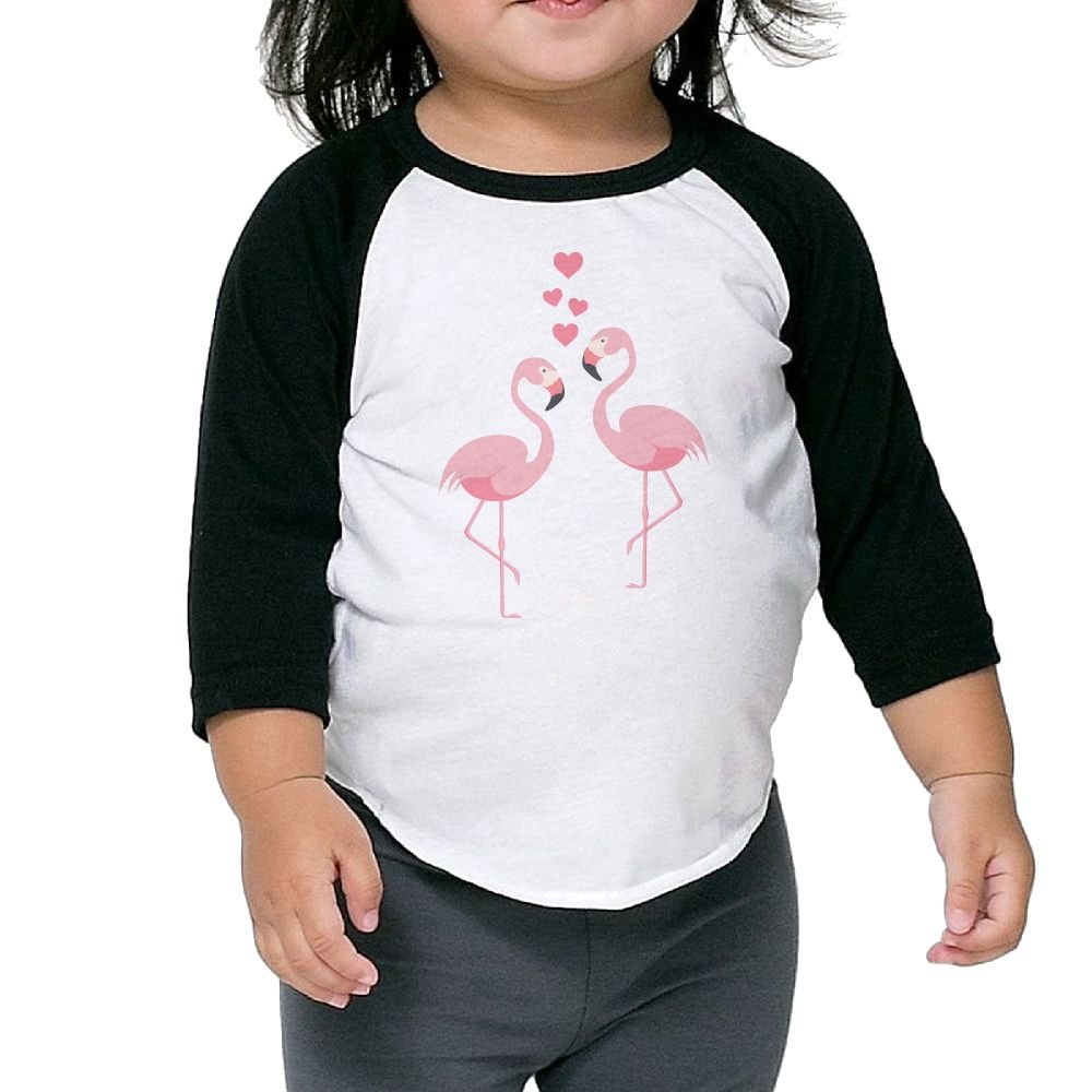 Love Heart Flamingo Gift Kid 3//4 Raglan T-Shirts Baseball Tee Shirts 100/% Cotton Round Neck