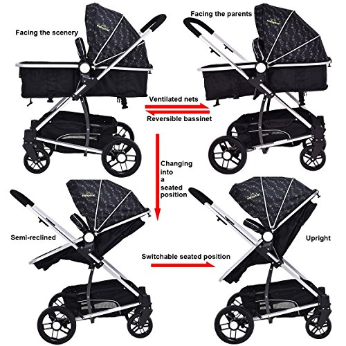 MD Group Baby Stroller 2-In-1 Foldable Aluminum Alloy Black Oxford Switchable Kids Travel by MD Group (Image #8)
