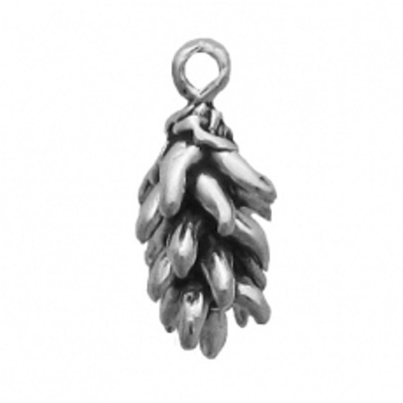 Sterling Silver Womens 1mm Box Chain 3D Chili Pepper Ristra Pendant Necklace