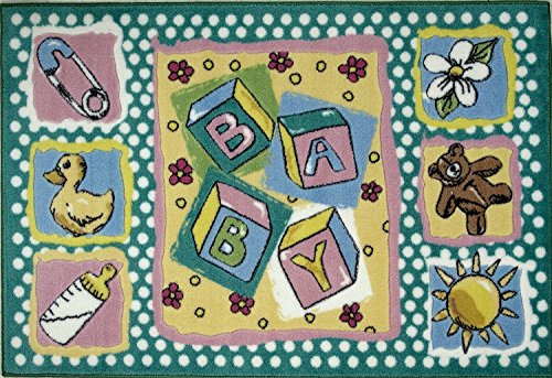 Baby Nursery and Children Room Area Rug Featuring Baby Blocks, Teddy Bear, and Shower Duck 39