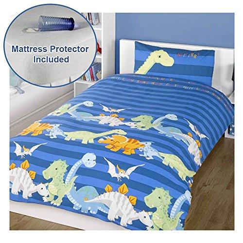 Protector Mattress Towelling (Dinosaurs Blue Junior/Toddler Duvet Cover Set + Toddler Bed Mattress Protector)