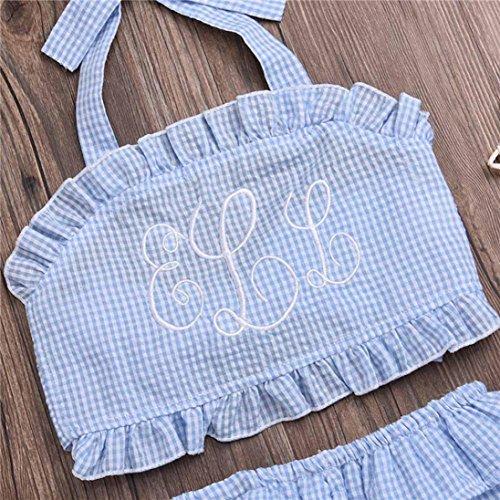 cfec0b82e AMA(TM) Toddler Kids Baby Girls Backless Bandage Ruffle Tops Shirt+ Shorts  Plaid Clothes