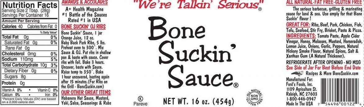 Bone Suckin' Fords Gourmet Foods Hot BBQ Sauce, 16 Ounce Pack of 2