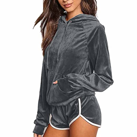 5c75027a161b Women Casual Velvet Hoodie Tops Sweatshirt Shorts 2 Pieces Tracksuits Sets  Loungewear at Amazon Women's Clothing store: