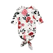 Newborn Baby Long Sleeve Floral Knotted Infant Sleepwear for Baby Girl and Boy (0-3 M, White)