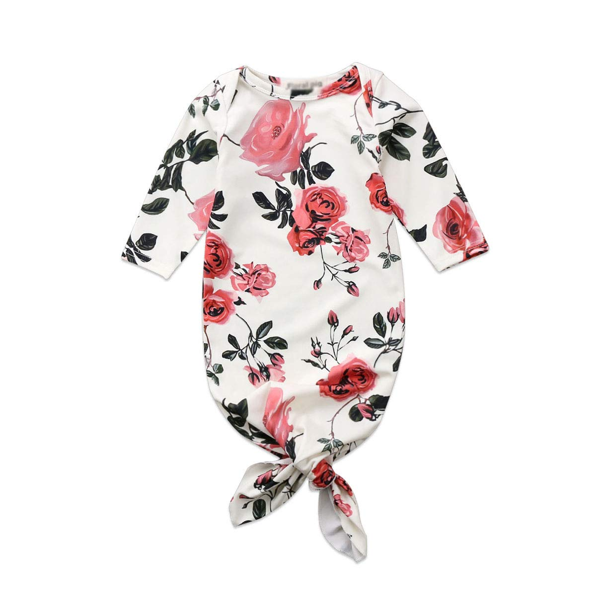 Newborn Baby Long Sleeve Floral Knotted Infant Sleepwear for Baby Girl and Boy