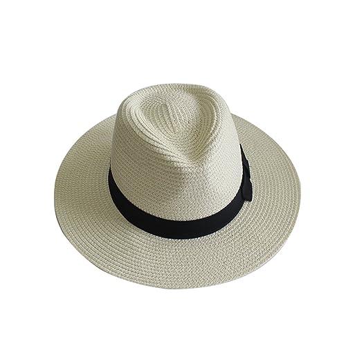 Sombrero de paja de verano YUUVE Sombrero de Panamá Sombrero de sombrero de Fedora sombrero de moda ...