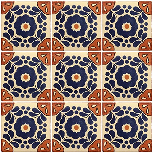 Ceramic Talavera Mexican Tile 4x4'', 9 Pieces (NOT Stickers) A1 Export Quality! - EX25 by DRT TALAVERA