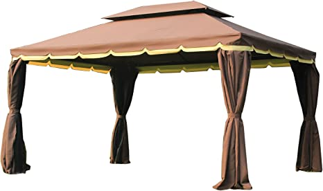 Outsunny Gazebo Pabellón Exterior Jardín 2.9x3.9x2.8m Carpa Cenador de Lujo Marco de Aluminio con Pared Lateral y Mosquitero para Fiesta Eventos
