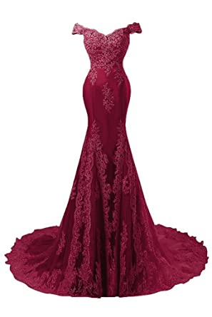 Butalways Womens Long Mermaid Prom Dresses Lace Wedding Dresses Formal Evening Gown 2018 Burgundy 2