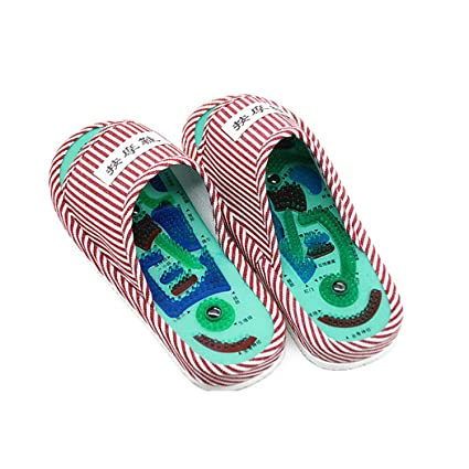 95ab903d7adbe Image Unavailable. Image not available for. Color  Nafanio Women Taichi  Slippers Waterproof Acupuncture Magnet Foot Massage Red Stripe Flip Flops  Wholesale ...
