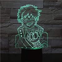 Fsewfs Luz nocturna Boku No Hero Academia Midoriya Izuku Figura Usb 3D Led Luz De Noche Niños Niño Niños Bebé Regalos Japonés Anime Lámpara De Mesa Mesita De Noche
