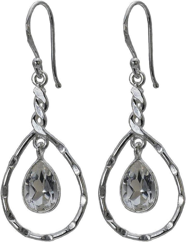 I-be 390724/4 - Pendientes de cristal de roca facetado con piedras preciosas (plata 925, longitud total 4,8 cm, en estuche de regalo)