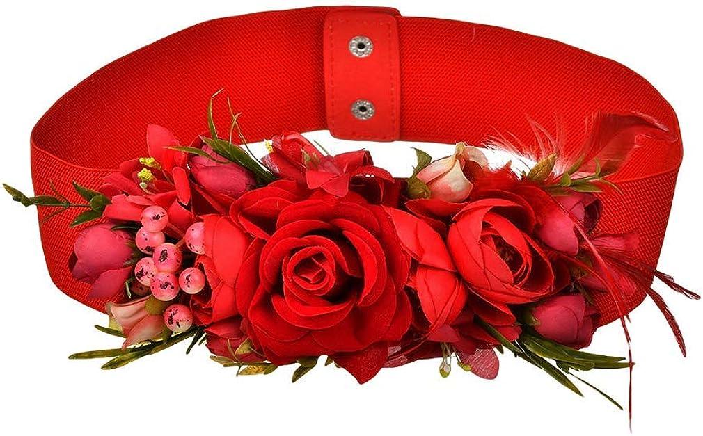 Mcaishen Cinturones De Flores para Mujeres Simulaci/ón De Phalaenopsis Cinturones Ultra Anchos Correas Decorativas Dulces Vestidos Y Fajas Accesorios De Vestir.