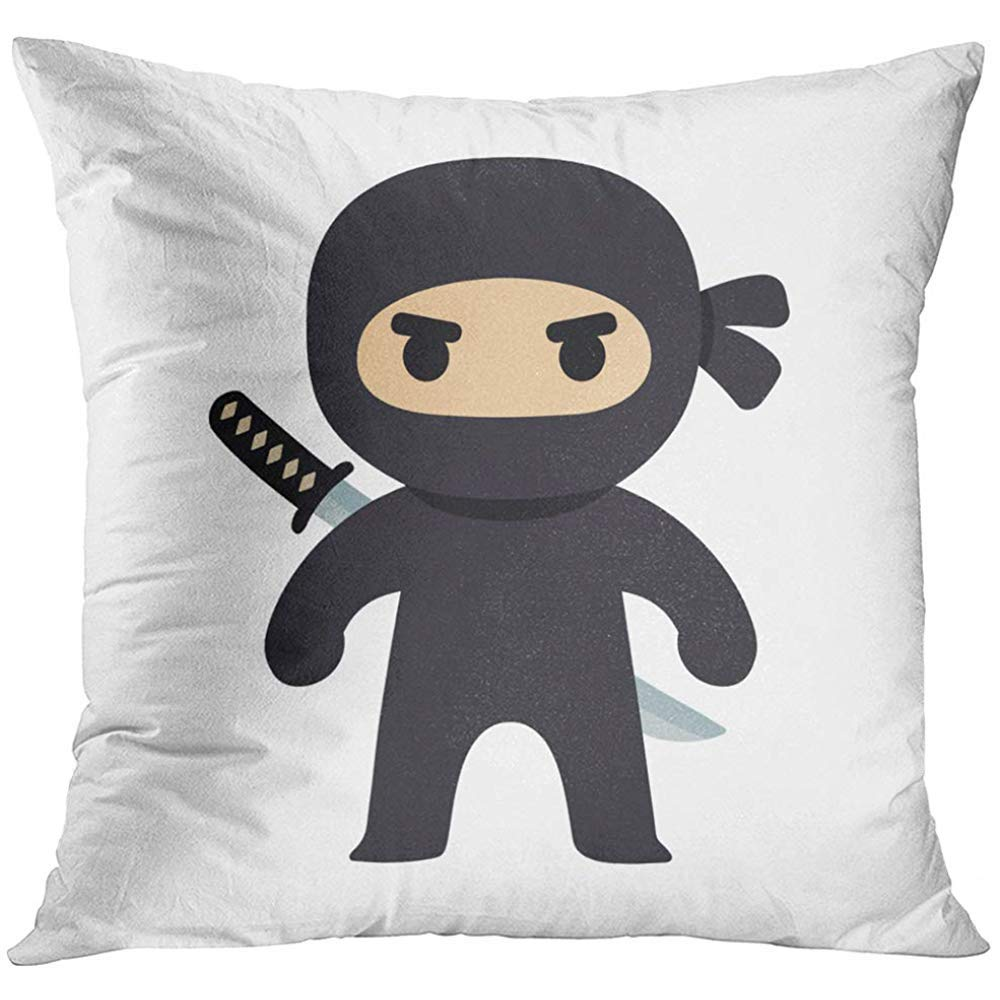 Amazon.com: Throw Pillow Cover Black Anime Cartoon Ninja ...