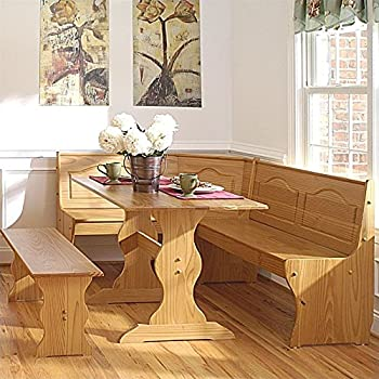Superior Linon Chelsea Kitchen Dining Nook Set In Natural Finish