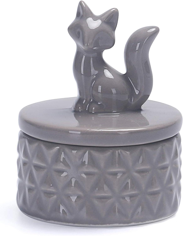 Bico Grey Fox Ceramic Jewelry Case Trinket Ring Holder, Case 2.6 inch Diameter, Wedding Anniversary, Birthday, Bridal Gift, for Bathroom, Kithchen, Night Stand